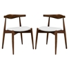 Stalwart Dining Side Chair - Wood Frame, Dark Walnut, White (Set of 2)
