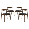 Stalwart Leatherette Dining Side Chair - Dark Walnut, Black (Set of 4)
