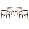 Stalwart Leatherette Dining Side Chair - Dark Walnut, White (Set of 4)