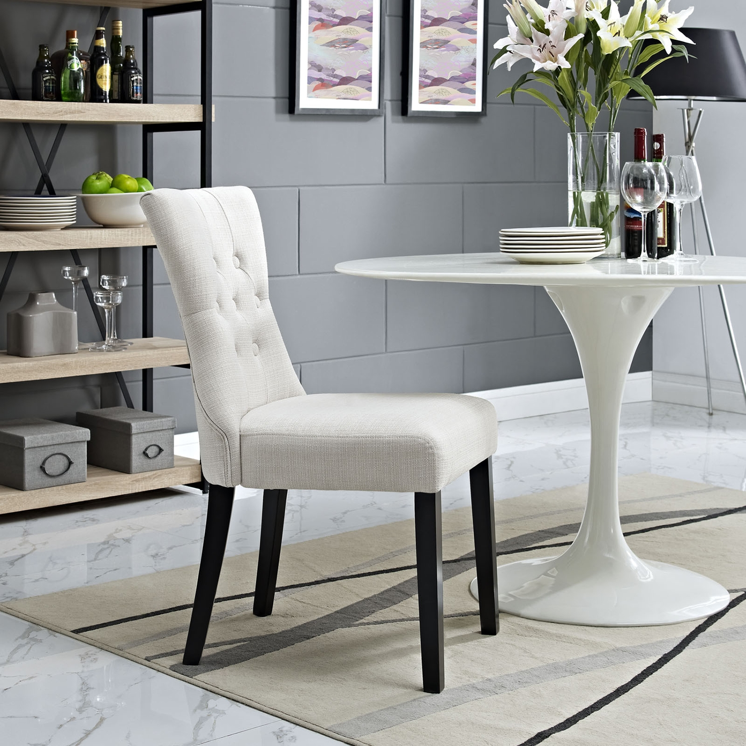 Silhouette Button Tufted Dining Side Chair - Beige - EEI-1380-BEI