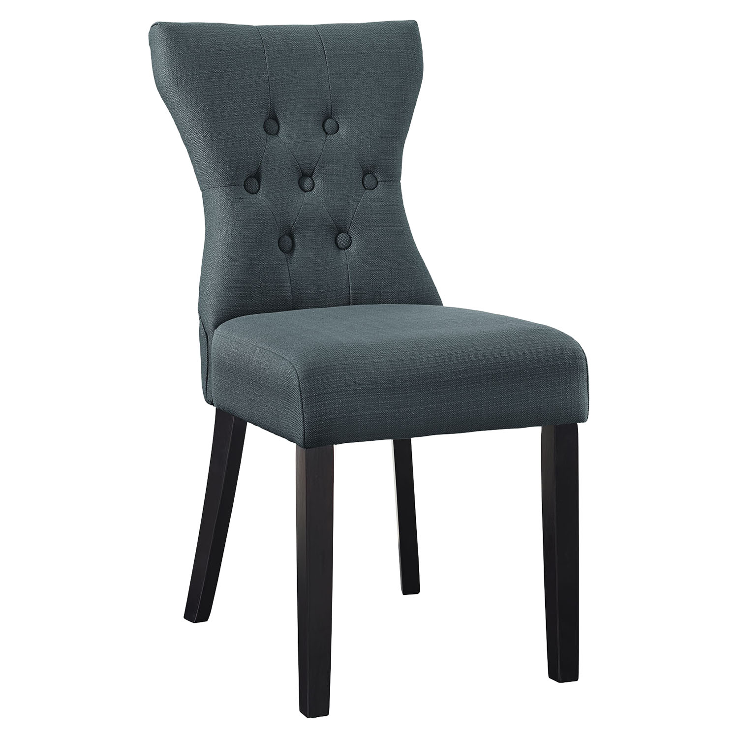 Silhouette Dining Side Chair - Button Tufted, Gray
