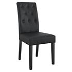 Confer Leatherette Side Chair - Button Tufted, Black