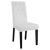 Confer Leatherette Side Chair - Button Tufted, White