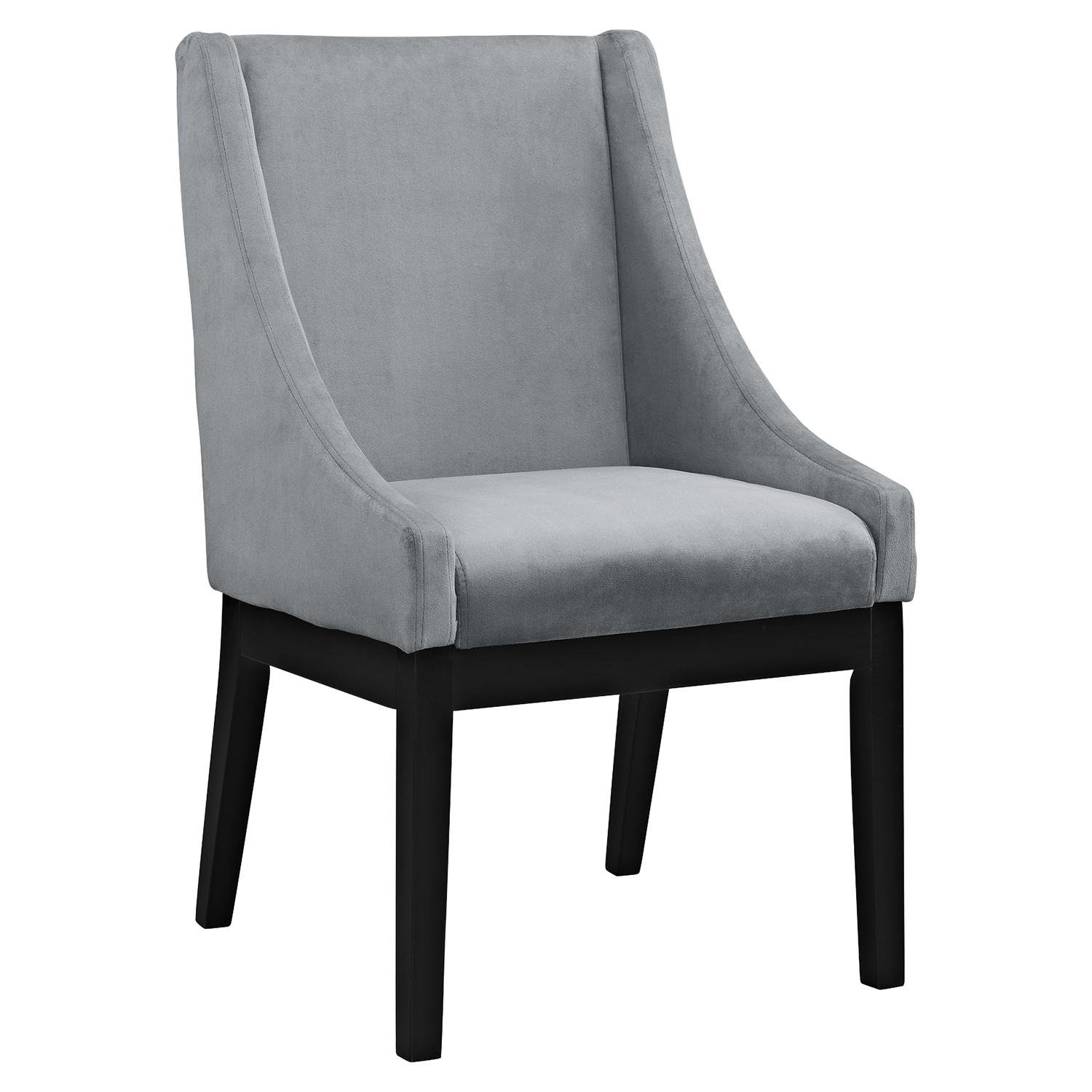 Tide Upholstery Side Chair - Wood Legs, Gray