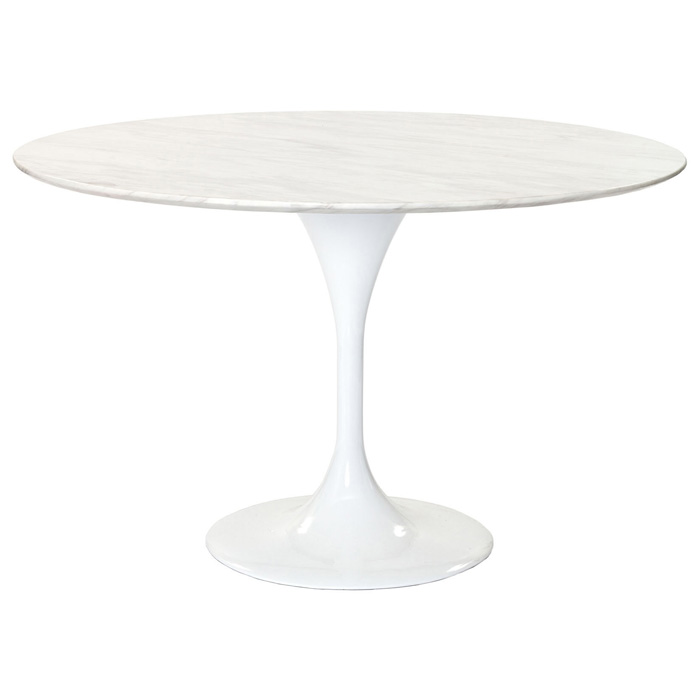 Lippa Saarinen Inspired 48 Inch Round Marble Top Dining Table
