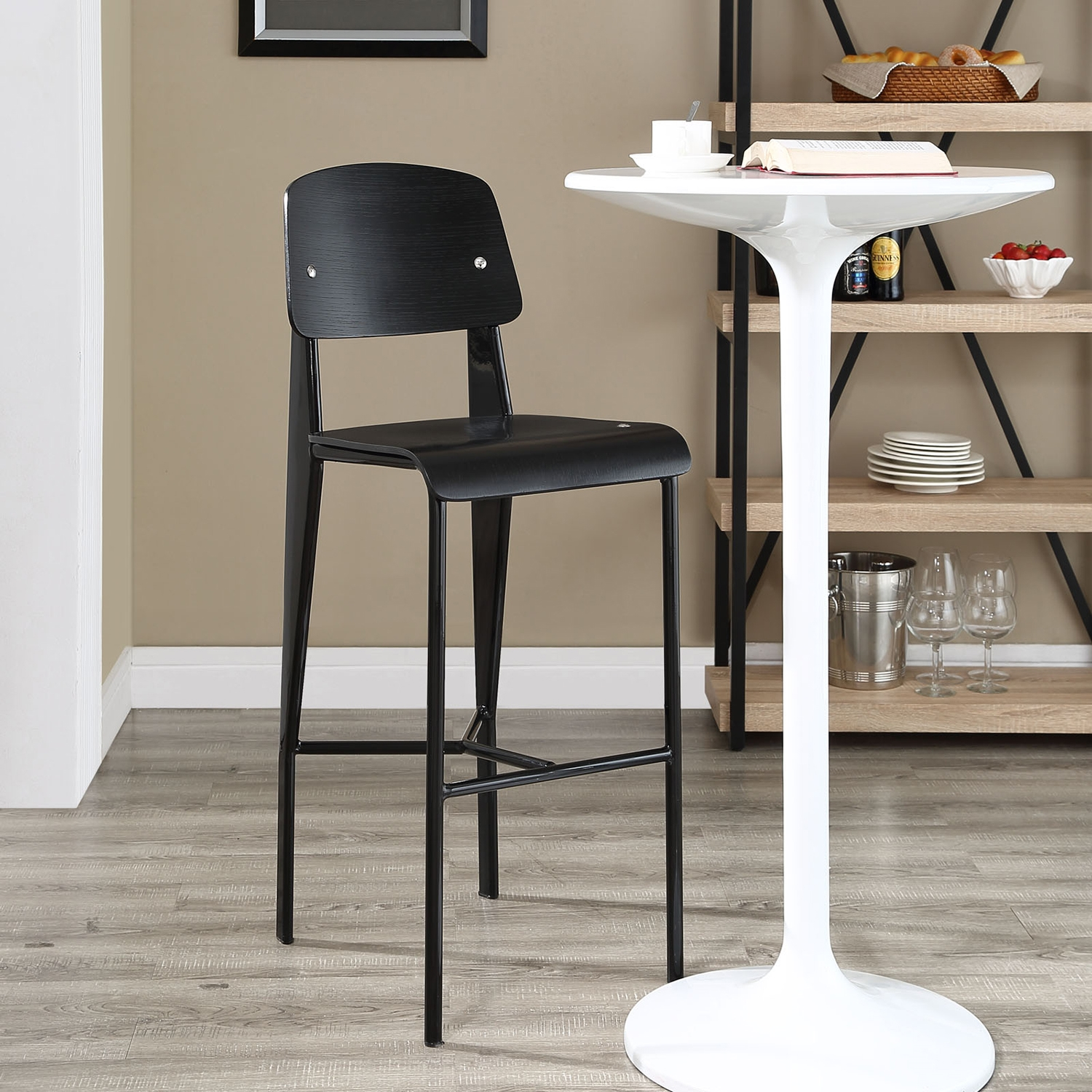 Cabin Armless Bar Stool - Black - EEI-1468-BLK-BLK