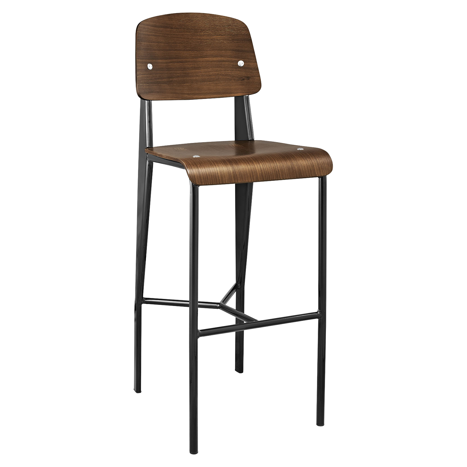 Cabin Armless Bar Stool - Walnut, Black