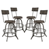Procure Backrest Bar Stool - Metal Base, Black (Set of 4)