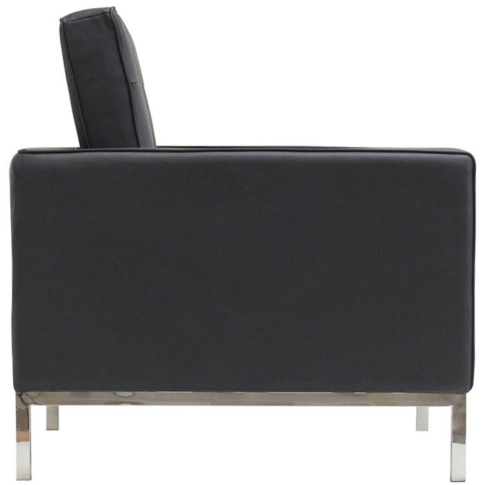 Loft Sitting Room Set - Eileen Gray Table, Leather Chairs, Black - EEI-859-BLK