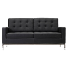 Baliette Modern Classic Leather Loft Loveseat