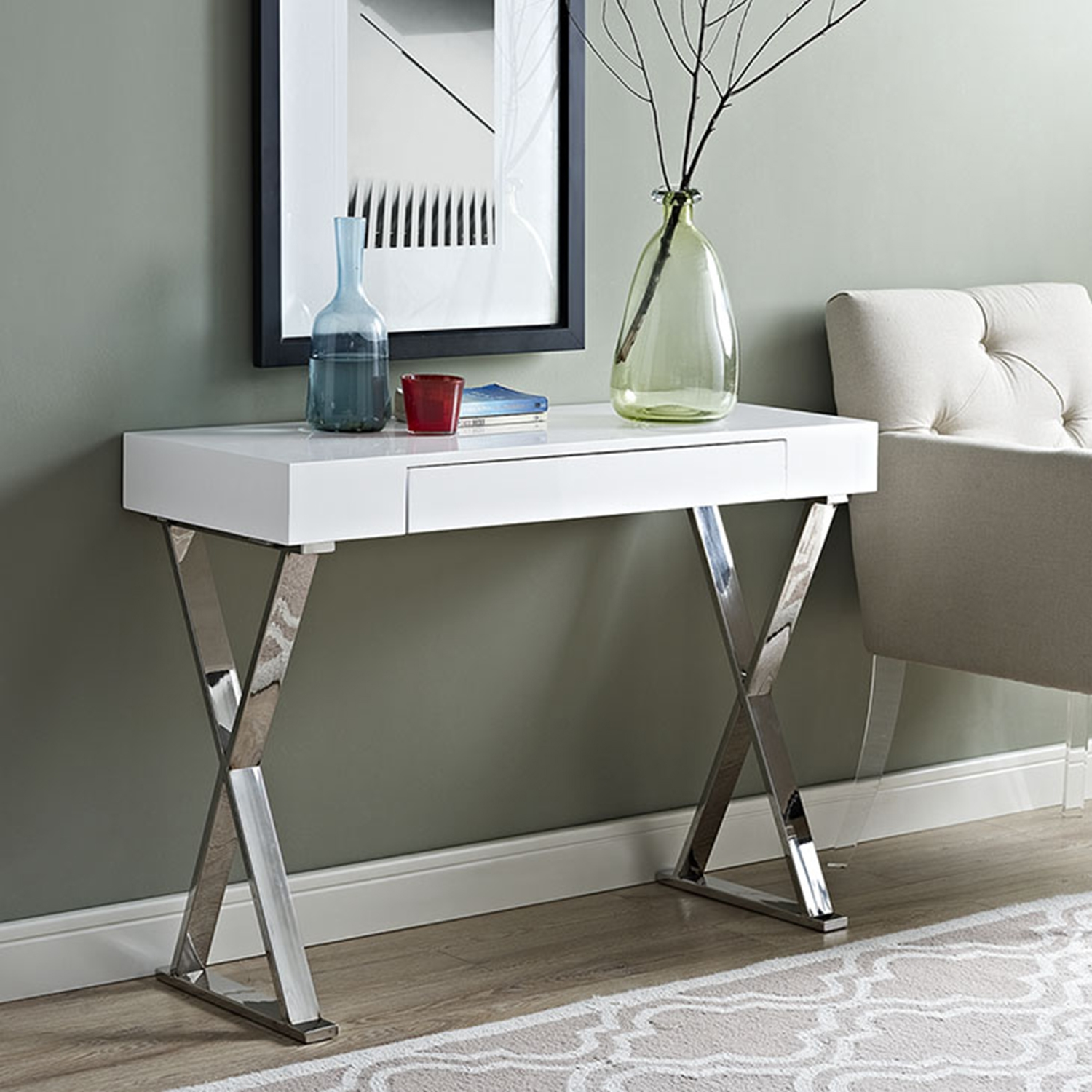 Sector Rectangular Console Table - X Legs, White - EEI-2048-WHI-SET