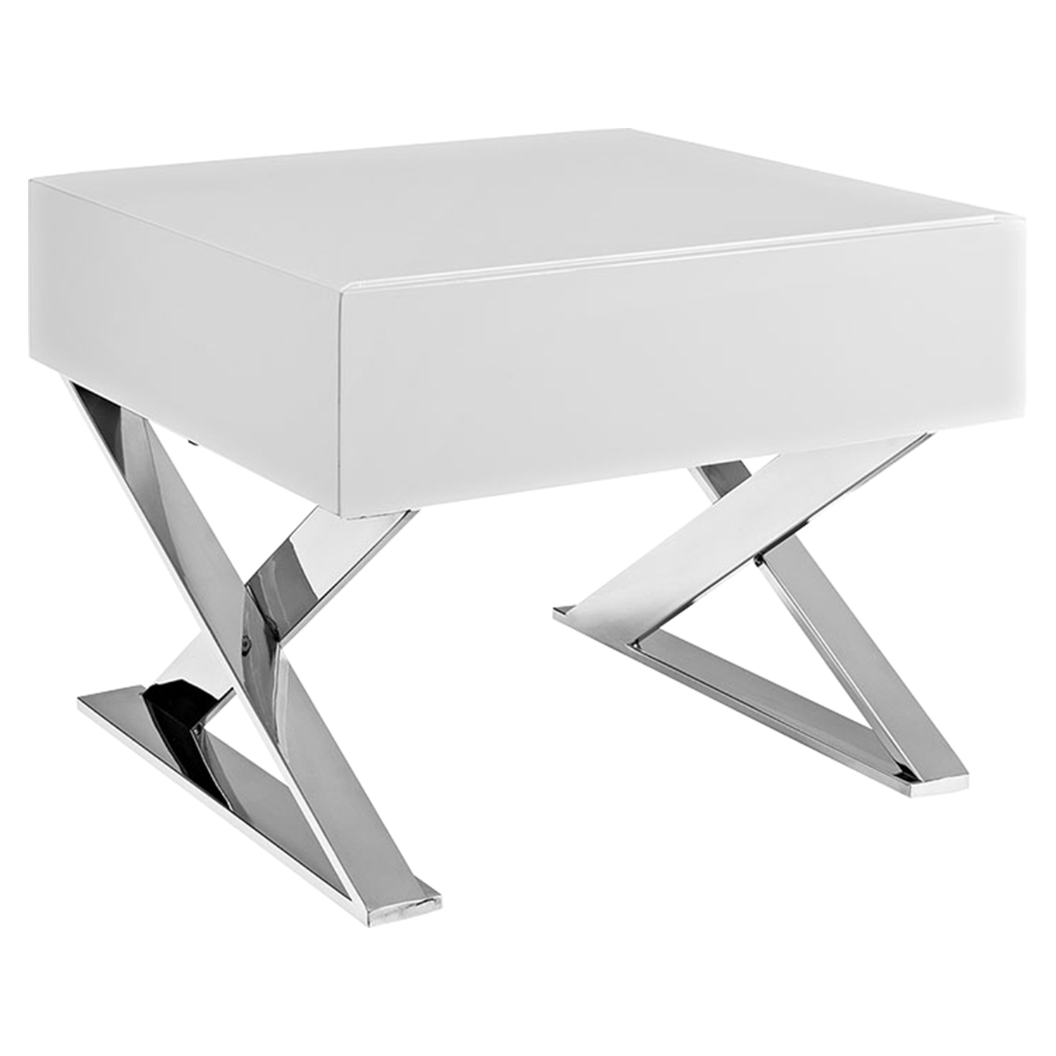 Sector Nightstand - White, 1 Drawer