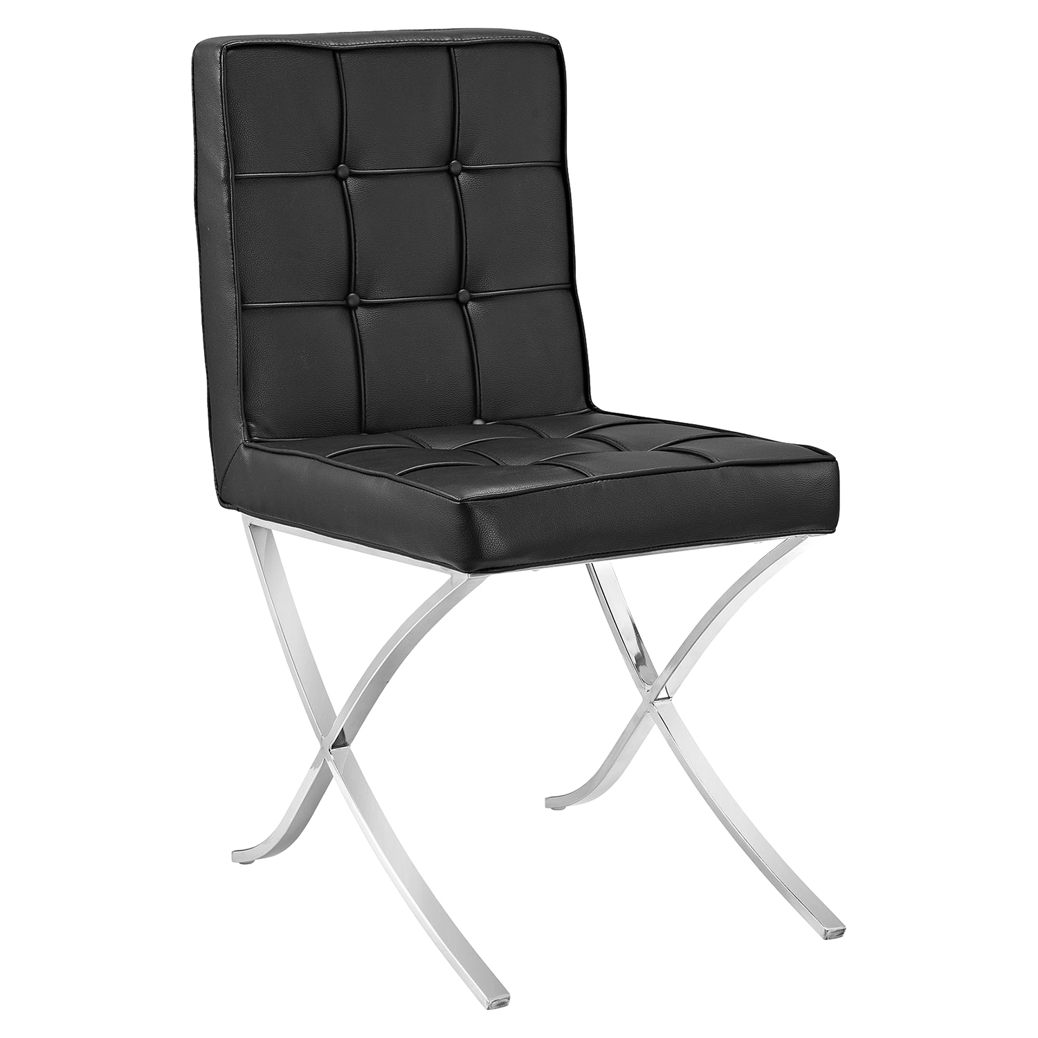 Trieste Memory Foam Dining Chair - Button Tufted, Black