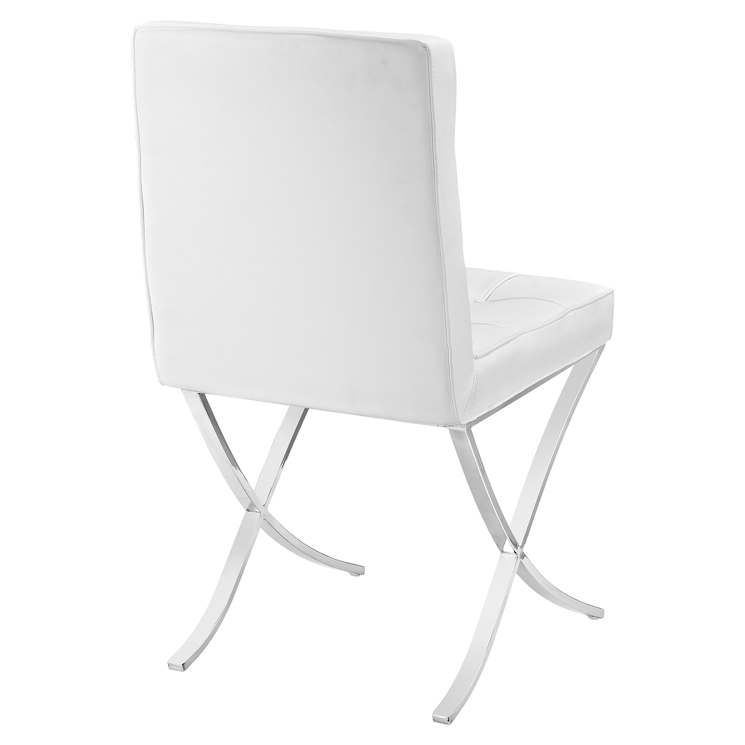 Trieste Memory Foam Dining Chair - Button Tufted, White - EEI-2072-WHI