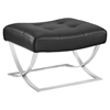 Slope Leatherette Ottoman - Tufted, Black