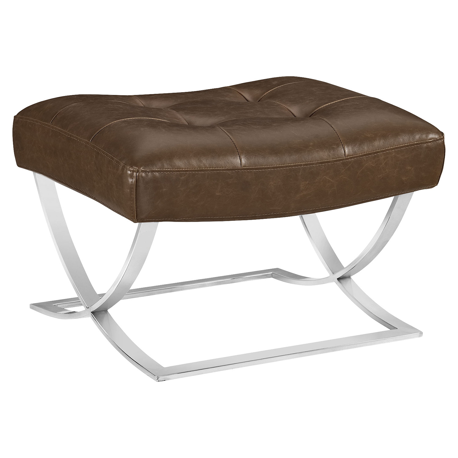 Slope Leatherette Ottoman - Tufted, Brown