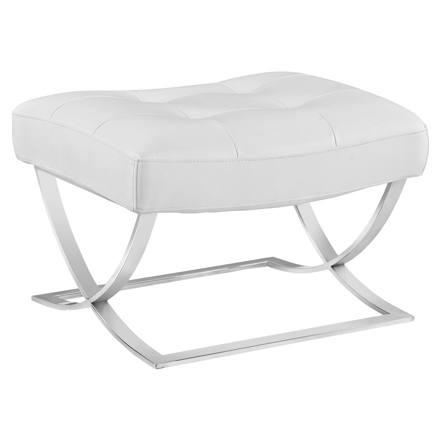Slope Leatherette Ottoman - Tufted, White
