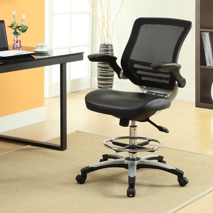 Edge Drafting Chair - Mesh Back, Chrome Foot Ring, Black - EEI-211-BLK