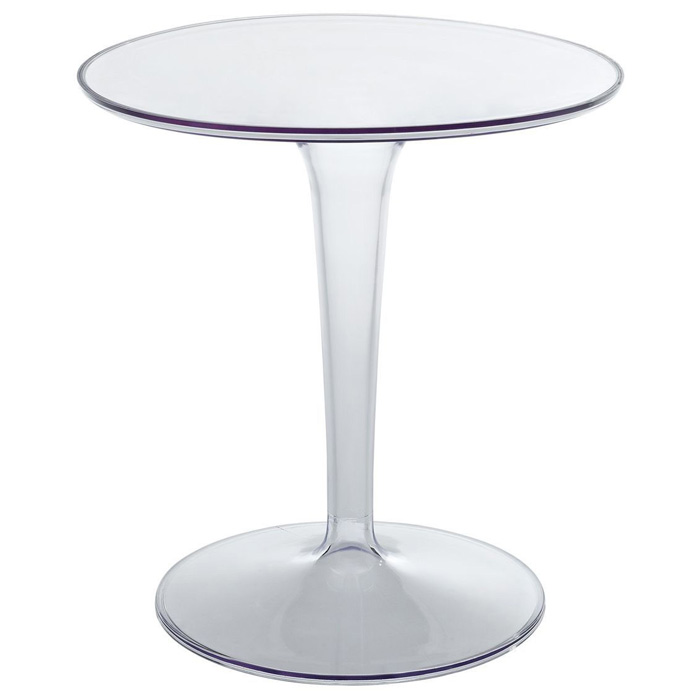 Canvas Round Side Table - Clear Plastic Base - EEI-217-CLR