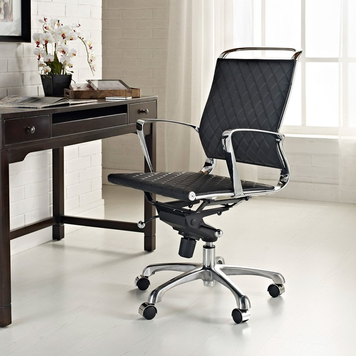 Vibe Modern Mid Back Office Chair - Chrome Frame, Black - EEI-227-BLK