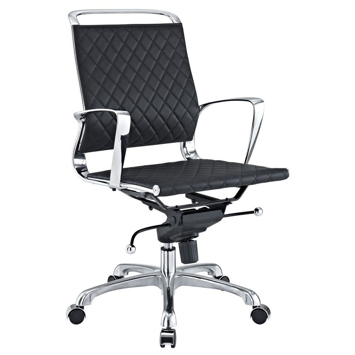 Vibe Modern Mid Back Office Chair - Chrome Frame, Black