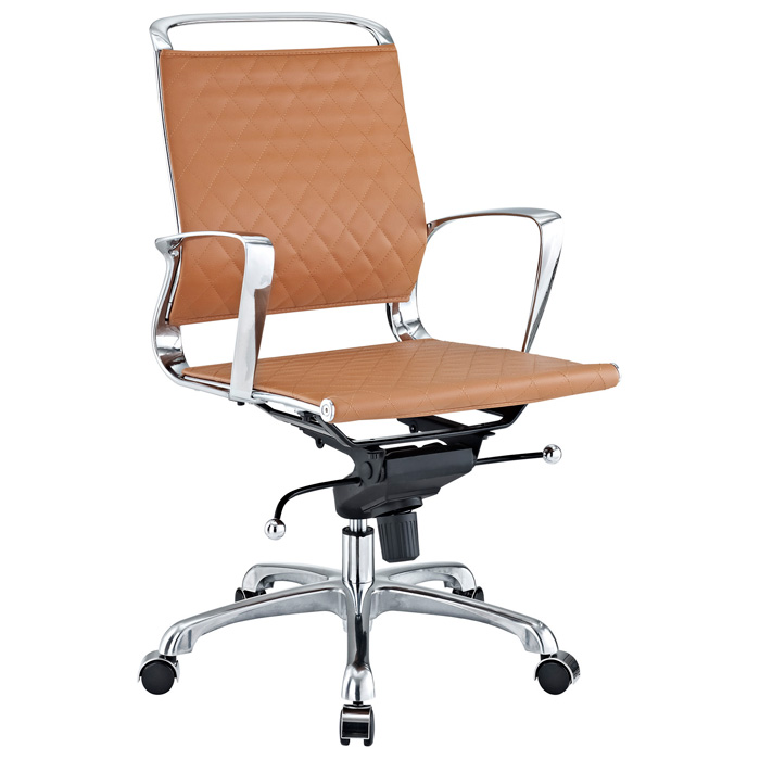 Vibe Modern Mid Back Office Chair - Chrome Frame, Tan