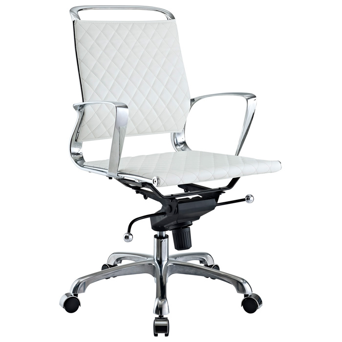 Vibe Modern Mid Back Office Chair - Chrome Frame, White