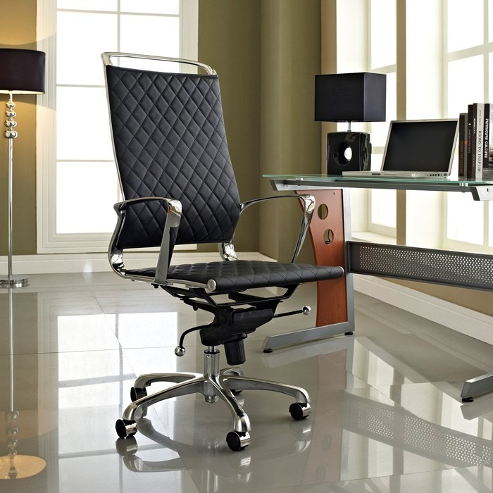 Vibe Modern High Back Office Chair - Chrome Frame, Black - EEI-232-BLK