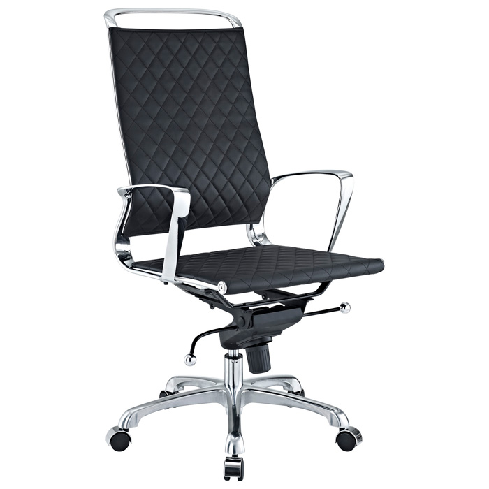 Vibe Modern High Back Office Chair - Chrome Frame, Black