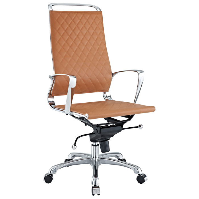 Vibe Modern High Back Office Chair - Chrome Frame, Tan