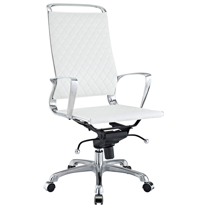 Vibe Modern High Back Office Chair - Chrome Frame, White