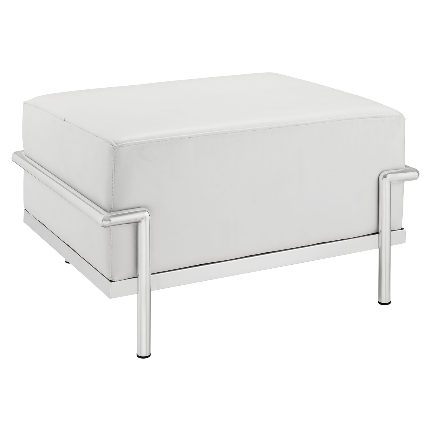 Charles Grande Leather Ottoman - White