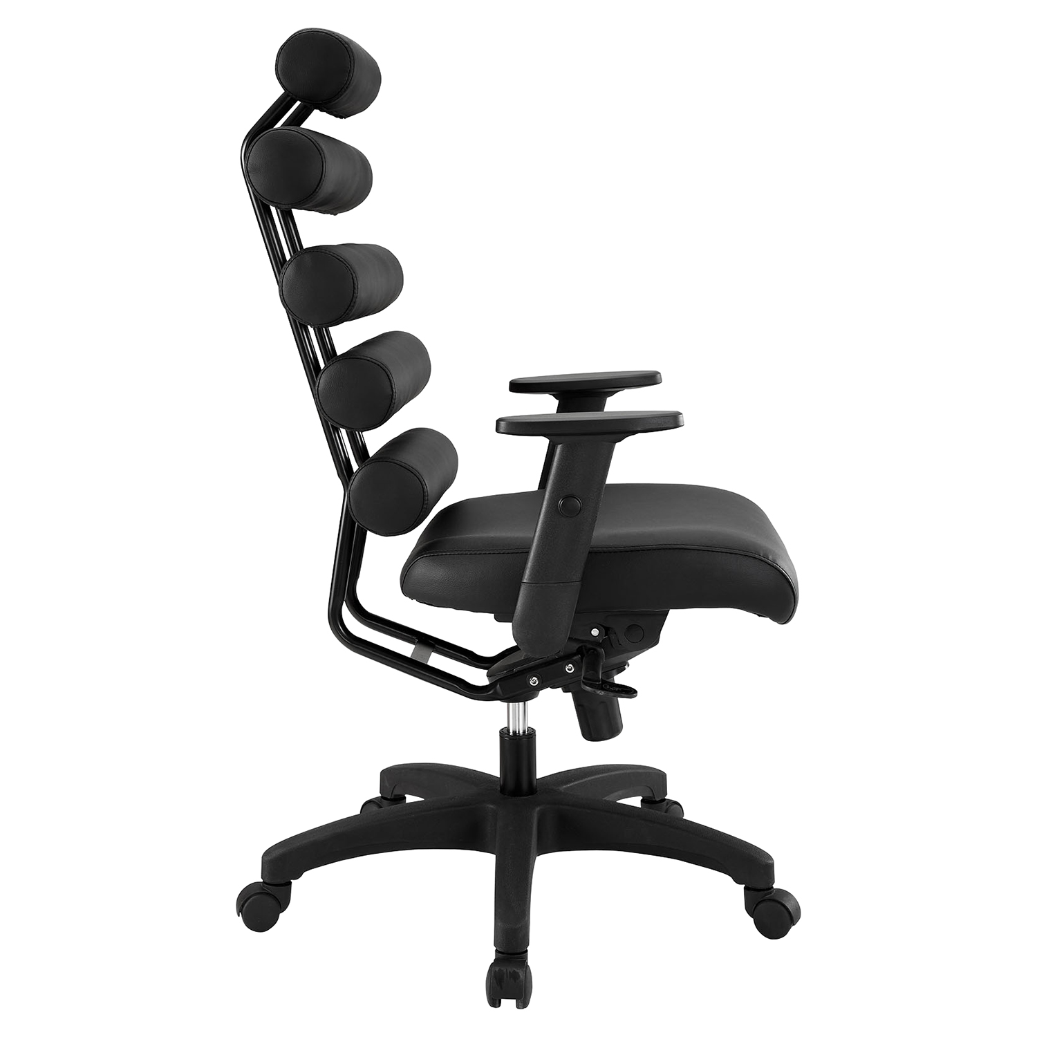 Pillow Faux Leather Office Chair - Height Adjustable, Black - EEI-274-BLK