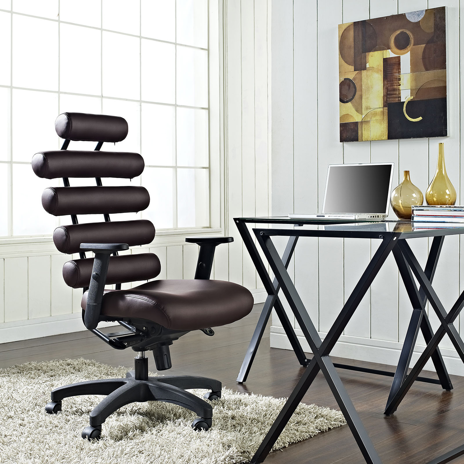 Pillow Faux Leather Office Chair - Height Adjustable, Dark Brown - EEI-274-DBR
