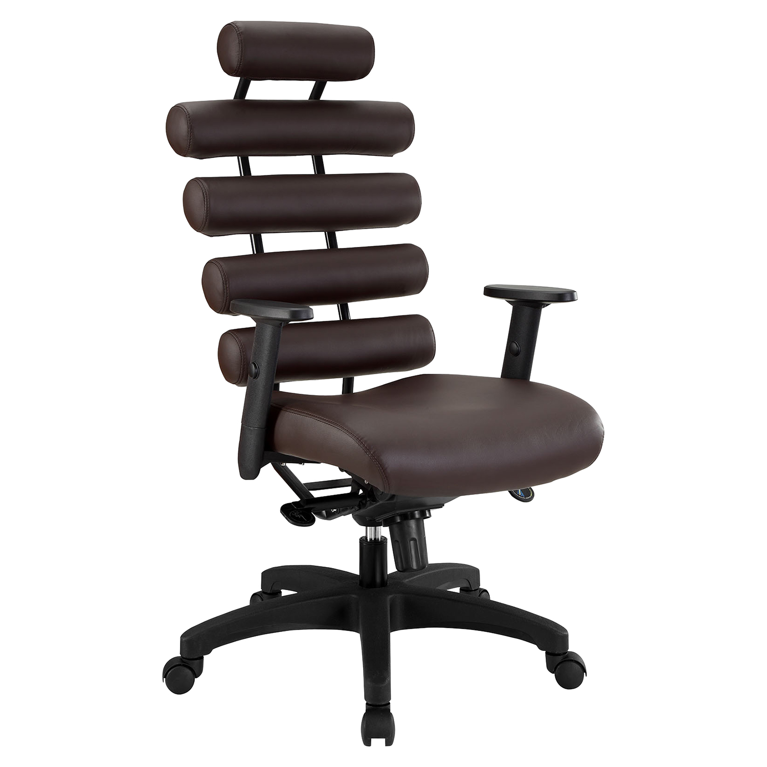 Pillow Faux Leather Office Chair - Height Adjustable, Dark Brown
