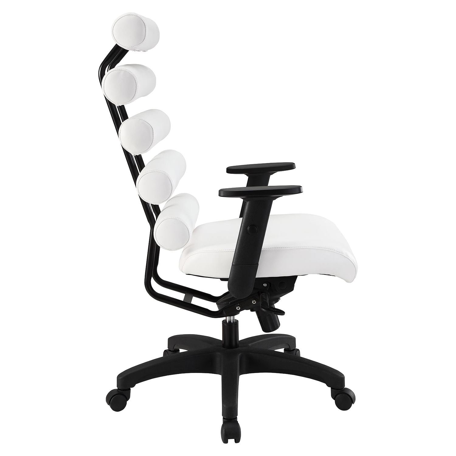 Pillow Faux Leather Office Chair - Height Adjustable, White - EEI-274-WHI