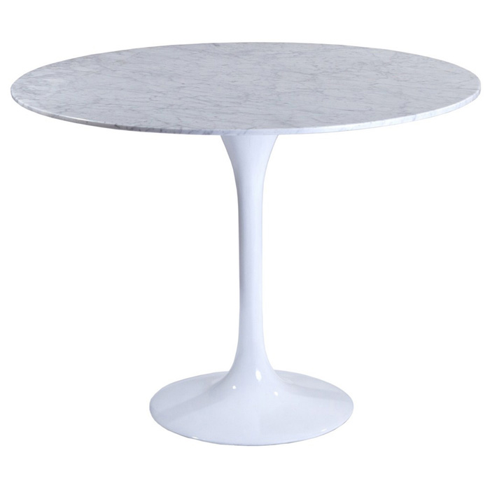 Lippa Saarinen Inspired 40 Inch Round Marble Top Dining Table