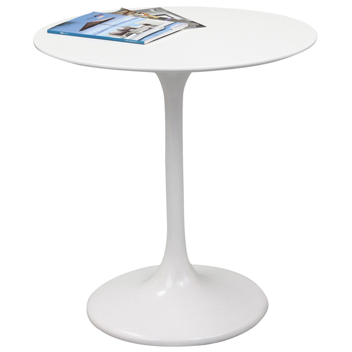Lippa Saarinen Inspired 28 Inch Fiberglass Round Dining Table in White - EEI-513-WHI