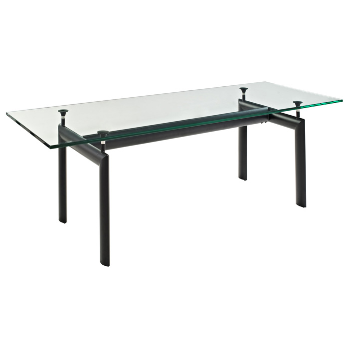 LC6 Rectangle Glass Top Dining Table - EEI-521-BLK
