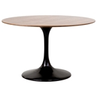 "Lippa Saarinen Inspired 48"" Round Walnut Top Dining Table"