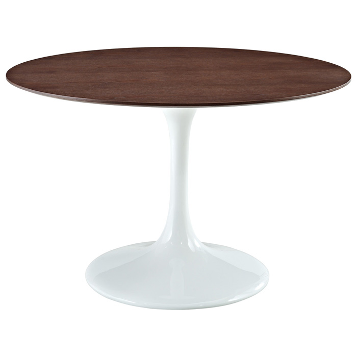 Lippa Saarinen Inspired 48'' Round Walnut Top Dining Table - EEI-523
