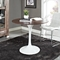 "Lippa Saarinen Inspired 36"" Round Walnut Top Dining Table in White - EEI-524-WHI"