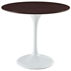 "Lippa Saarinen Inspired 36"" Round Walnut Top Dining Table in White"