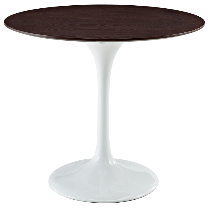 Lippa Saarinen Inspired 36'' Round Walnut Top Dining Table in White