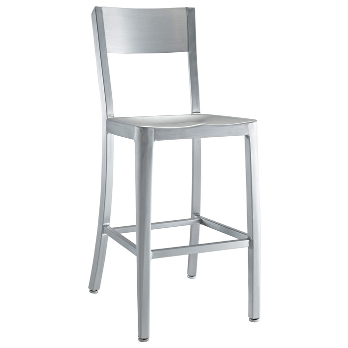 "Milan 24"" Counter Stool - Aluminum, Silver Finish"