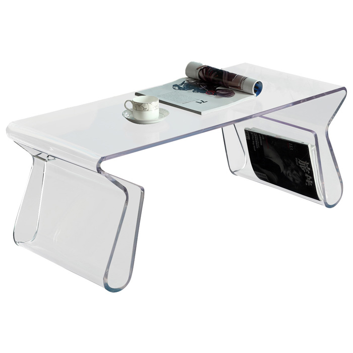 Acrylic Rectangle Coffee Table with Magazine Holder - EEI-562