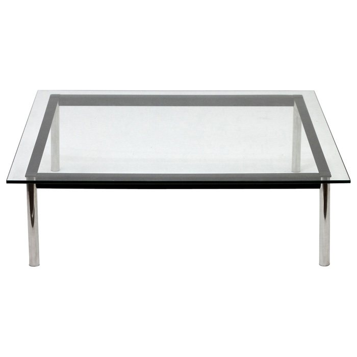 LC10 Square Glass Top Coffee Table - EEI-572-BLK