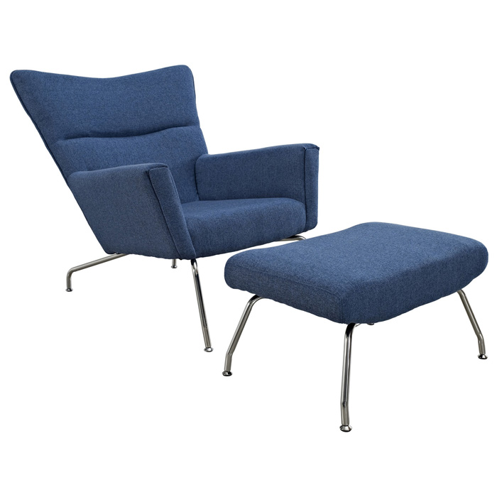 First Class Tweed Lounge Chair & Ottoman - Blue - EEI-630-BUT