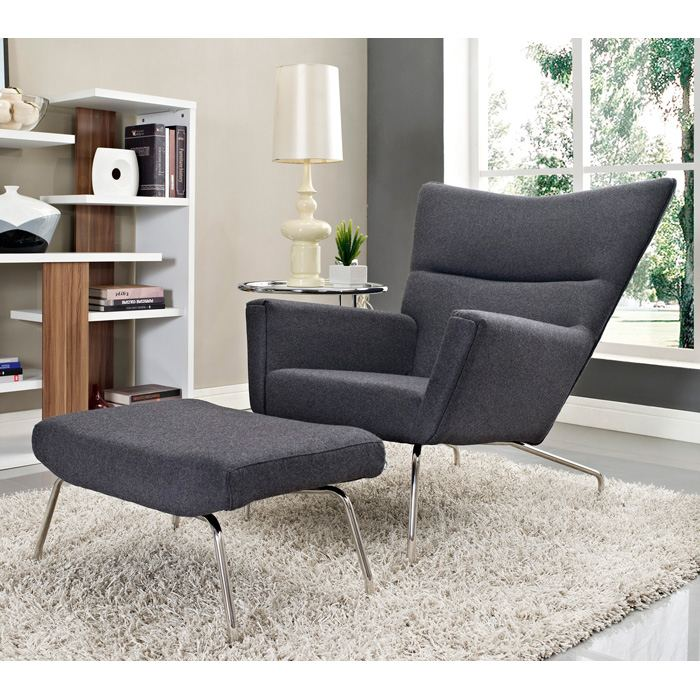 First Class Wool Chair and Ottoman in Dark Gray - EEI-630-DGR