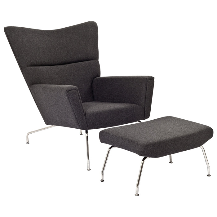 First Class Wool Chair and Ottoman in Dark Gray